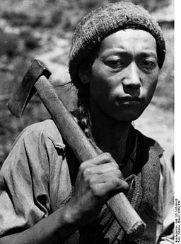 Bundesarchiv Bild 135-S-05-09-08, Tibetexpedition, Tibeter mit Beil