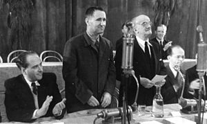 Gyula Háy - From left to right: Háy, Bertolt Brecht, Ernst Legal, Alexander Abusch in 1948
