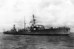 German cruiser Emden - Emden steaming at low speed in 1935