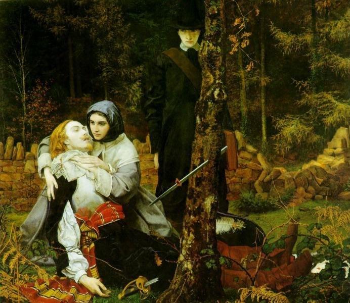 Алегория на Английската революция от Уилям Шекспир Бъртън. Ранен рицар лежи на земята, а пуритан в черно стои на заден план.