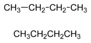 Two varieties of condensed structural formula, both showing butane