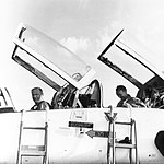 Buzz Aldrin (left) and Mike Collins on arrival at Patrick Air Force Base in a T-38.jpg