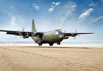 Saunton Sands - A RAF C-130K Hercules landing at Saunton Sands
