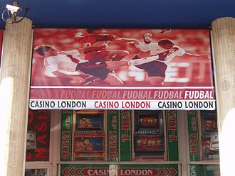Club Atlético River Plate - Sun screen at a sports betting house in Belgrade, Serbia, bearing a picture of River Plate players