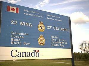 CFB North Bay - Entrance sign at main gate of CFB North Bay.