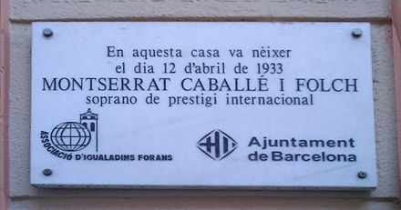 Plaque at her birthplace in Barcelona Caballe home.jpg
