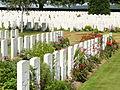 Cabaret Rouge Cemetery graves, Souchez, France.JPG