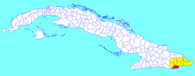 Caimanera municipality (red) within  Guantánamo Province (yellow) and Cuba