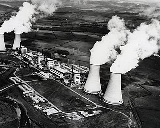 Sellafield - Calder Hall, United Kingdom -  The world's first commercial nuclear power station. First connected to the national power grid on 27 August 1956 and officially opened by Queen Elizabeth II on 17 October 1956