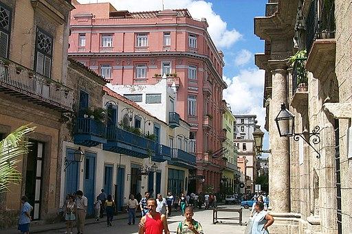 Calle Obispo with Hotel Ambos Mundos