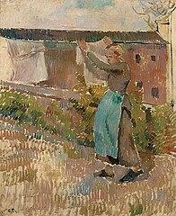 Kvinde hænger vasketøj op, Éragny (studie)