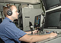 Canadian navy Ordinary Seaman Patrice Mongeau, a sonar operator on board Halifax-class frigate HMCS Calgary (FFH 335), trains on sonar equipment July 18, 2010, in Pearl Harbor, Hawaii, during Rim of the Pacific 100718-O-VU434-026.jpg
