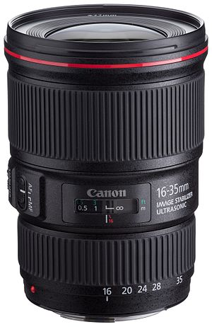 Canon EF 16–35mm lens - Image: Canon EF 16 35mm f 4L IS USM front angled