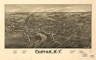 Canton, New York - Perspective map of Canton from 1885 with list of landmarks by L.R. Burleigh
