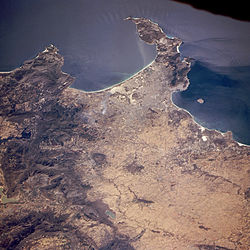 Cape Town, False Bay (top) and Table Bay with Robben Island (right) from space, February 1995.