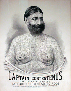Captain George Costentenus - Poster advertising Captain Costentenus as a side show for the Great Farini or P. T. Barnum circus.
