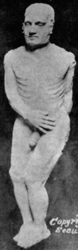 Cardiff Giant - The Cardiff Giant displayed at the Bastable in Syracuse, NY circa 1869.