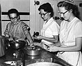 Carolyn Burkholder, Esther Demeter and Janet Headings, Food Services, Kansas City Children's Home, Kansas City, Missouri, 1964 (16020454657).jpg
