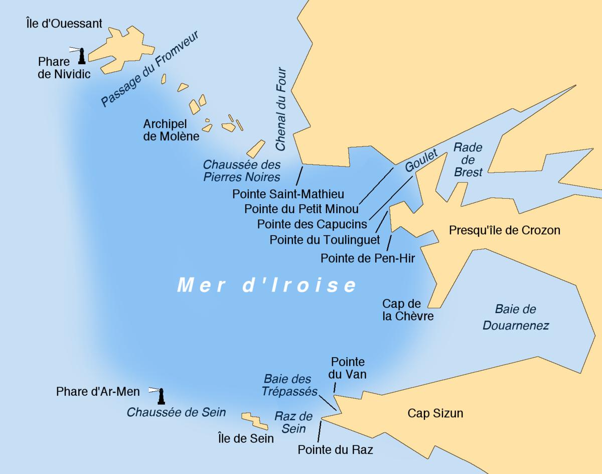 Carte Bretagne Pointe Du Raz.Mer D Iroise Wikipedia