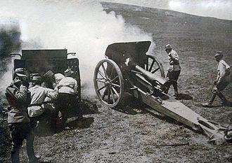 Battle of Galați - Romanian Model 1912 105 mm howitzer during the Battle of Mărăști