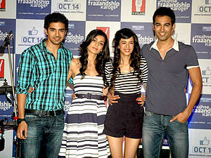 Tara D'Souza - The cast of Mujhse Fraaandship Karoge. From left: Saqib Saleem, Tara D'Souza, Saba Azad and Nishant Dahiya