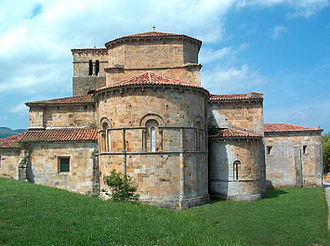 Castañeda, Cantabria - Romanesque Collegiate of Santa Cruz de Castañeda (12th century), eastern façade.
