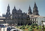 A large cathedral with many towers.