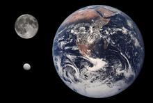 Größenvergleich zwischen Erde, Mond und Ceres (maßstabsgetreue Fotomontage) (Bild von Wikipedia)