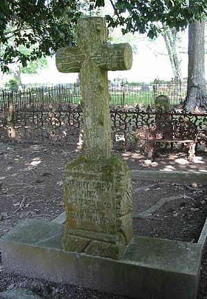 The gravestone of Henry Grey Vick in the churc...