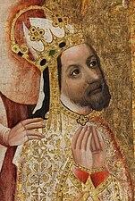 Portrait d'un homme couronné, barbu, en prière; les tons sont or.