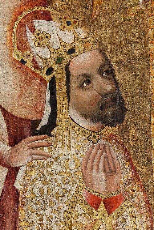 El emperador Carlos IV en un fragmento del panel votivo del Arzobispo Jan Ocko de Vlasim, por Meister Theoderich von Prag
