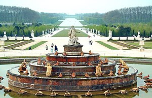 Gardens of Versailles - Bassin de Latone – Latona Fountain with the tapis vert and the Grand Canal in the background