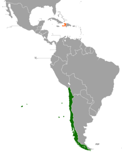 Map indicating locations of Chile and Haiti