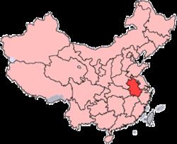 Anhui er vist på kortet