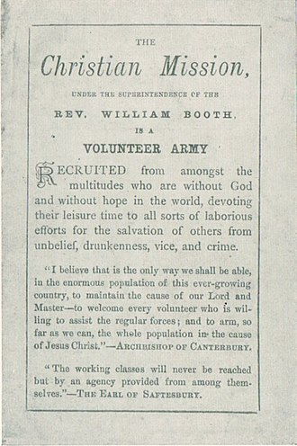 "William Booth - Manifesto of The Christian Mission as a ""Volunteer Army"" (1878)"