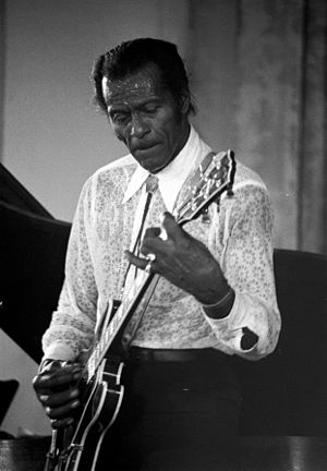 "Distortion (music) - The guitar solo on Chuck Berry's 1955 single ""Maybellene"" features ""warm"" overtone distortion produced by an inexpensive valve amplifier (also called a ""tube amplifier"")."
