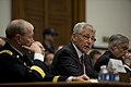 Chuck Hagel testifies before the House Armed Services Committee on the fiscal year 2014 National Defense Authorization Budget Request at the Rayburn House Office Building in Washington D.C..jpg