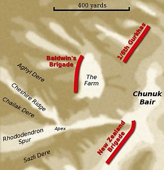 Battle of Chunuk Bair - British positions on 9 August