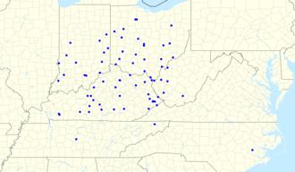 Cincinnati Reds Radio Network - Map of radio affiliates in 2017