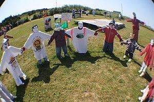 Scarecrow - Circle of scarecrow children at Joe's Scarecrow Village