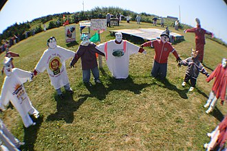 Scarecrow - Circle of scarecrow children at Joe's Scarecrow Village