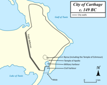 a map showing the defences of the city of Carthage