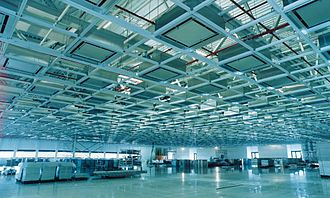 Cleanroom - Cleanroom for microelectronics manufacturing with fan filter units installed in the ceiling grid