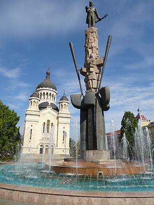 Dormition of the Theotokos Cathedral, Cluj-Napoca - Image: Cluj Napoca Statuia Avram Iancu