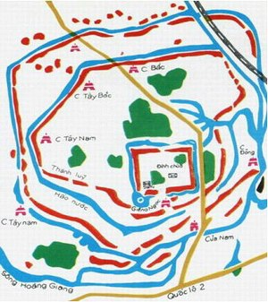 History of Vietnam - Map of the Cổ Loa Citadel, red is the wall, blue is the water, green is the trees