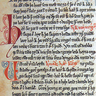 <i>Saga of Harald Fairhair</i> late Mediaeval book of stories in Old Norse