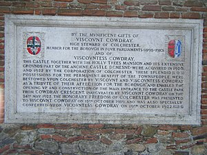 Colchester Castle - A plaque recording the acquisition of the castle and park by the Borough of Colchester, through the generosity of Viscount Cowdray and his wife.