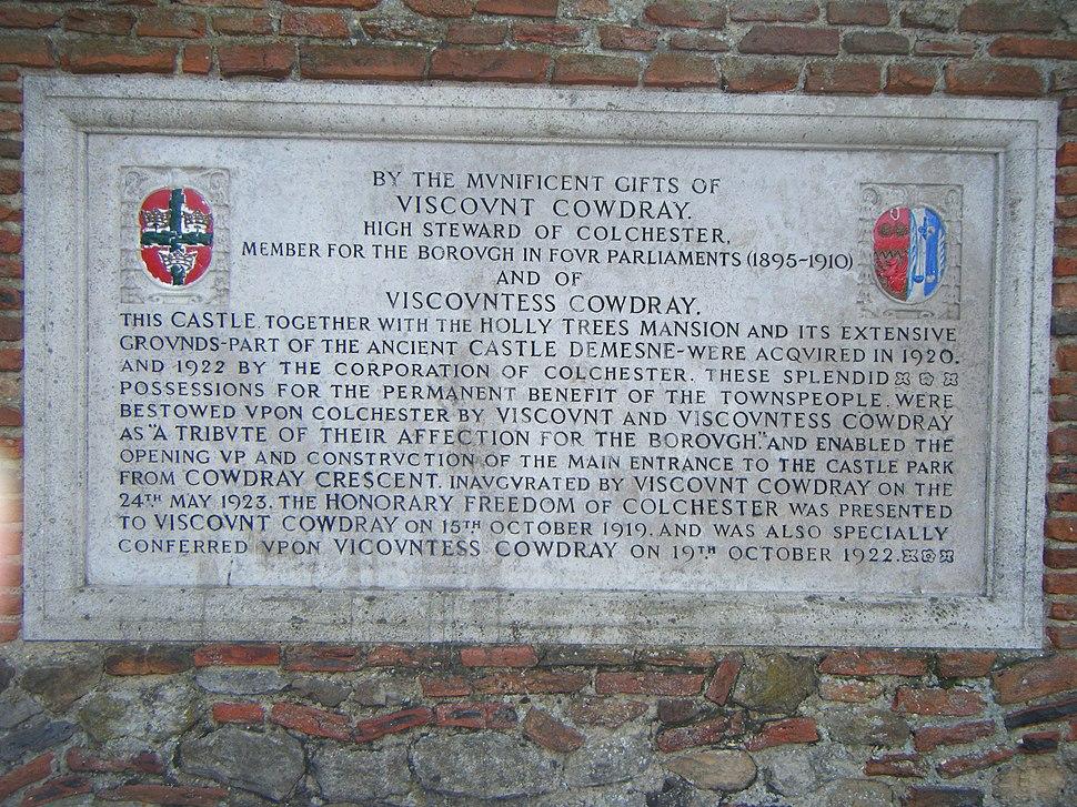 Colchester Castle donation plaque 1922