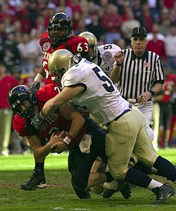A college football game between Texas Tech and Navy.