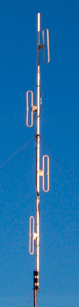 Collinear antenna array - Image: Collinear dipole array base station antenna